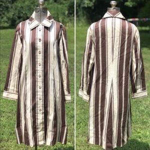 Vintage Brown and Cream Button Down Dress